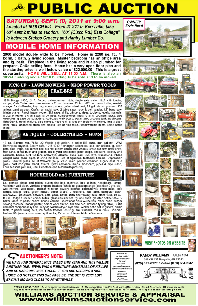 SEPT 10 2011 AUCTION