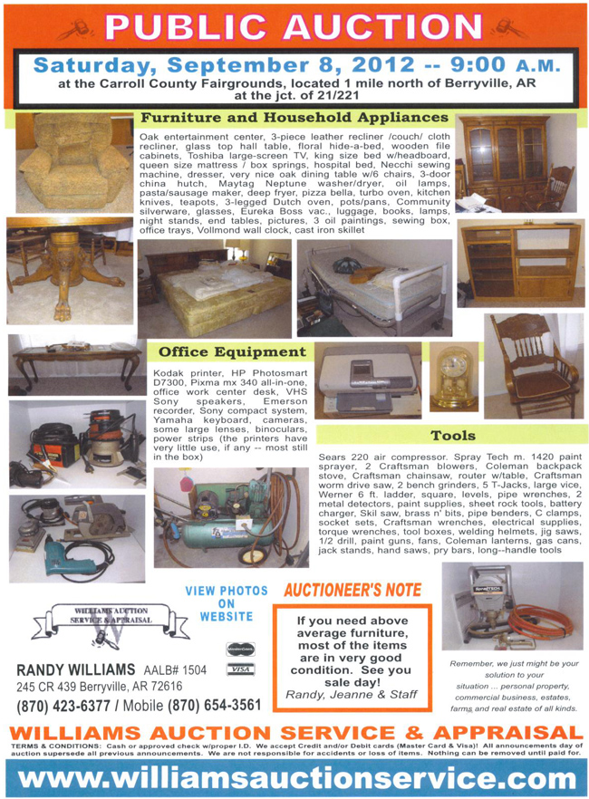 Auction September 8 2012 Carroll County Arkansas
