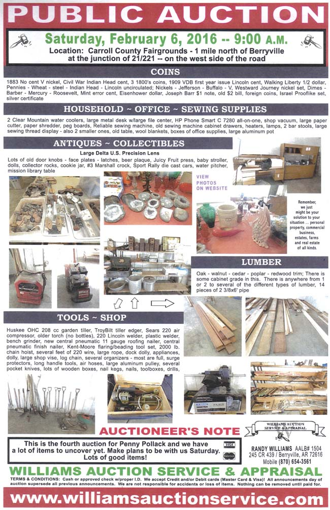 FEB 6 2016 Auction