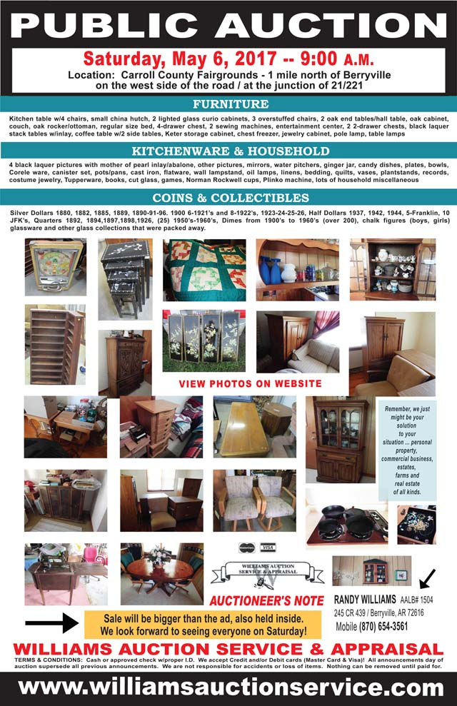 AUCTION MAY BERRYVILLE ARKANSAS