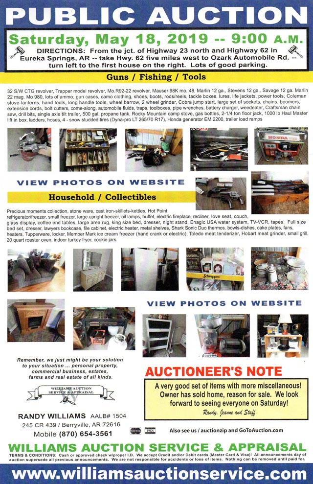 Saturday MAY 18 Auction Arkansas