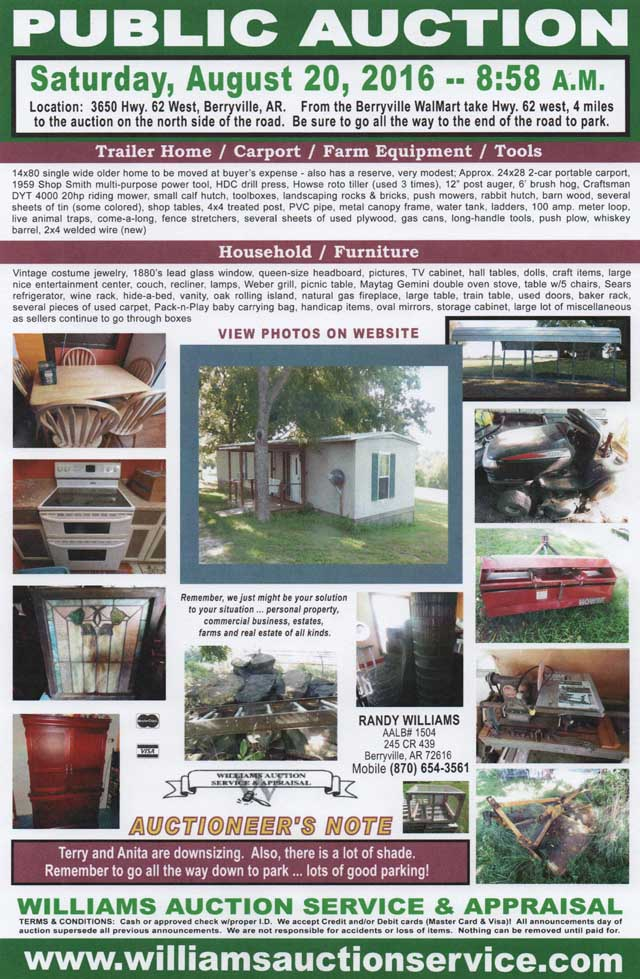 AUCTION AUG 20