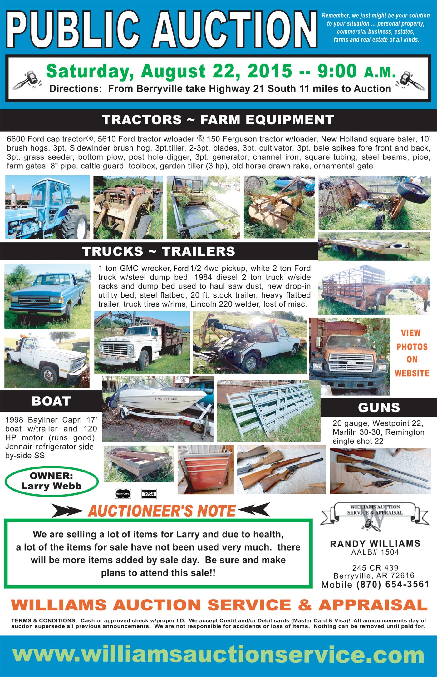 Williams Auction Service Auction | Berryville, Green Forest, Ozarks