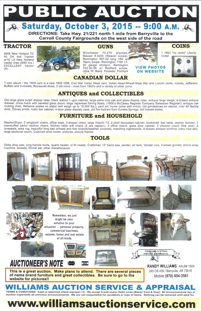 October 3 - 2015 Auction