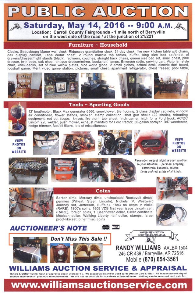 MAY 14 Auction - Williams Auction Service