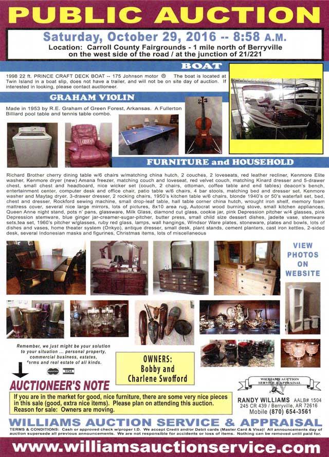 AUCTION OCTOBER 29 2016