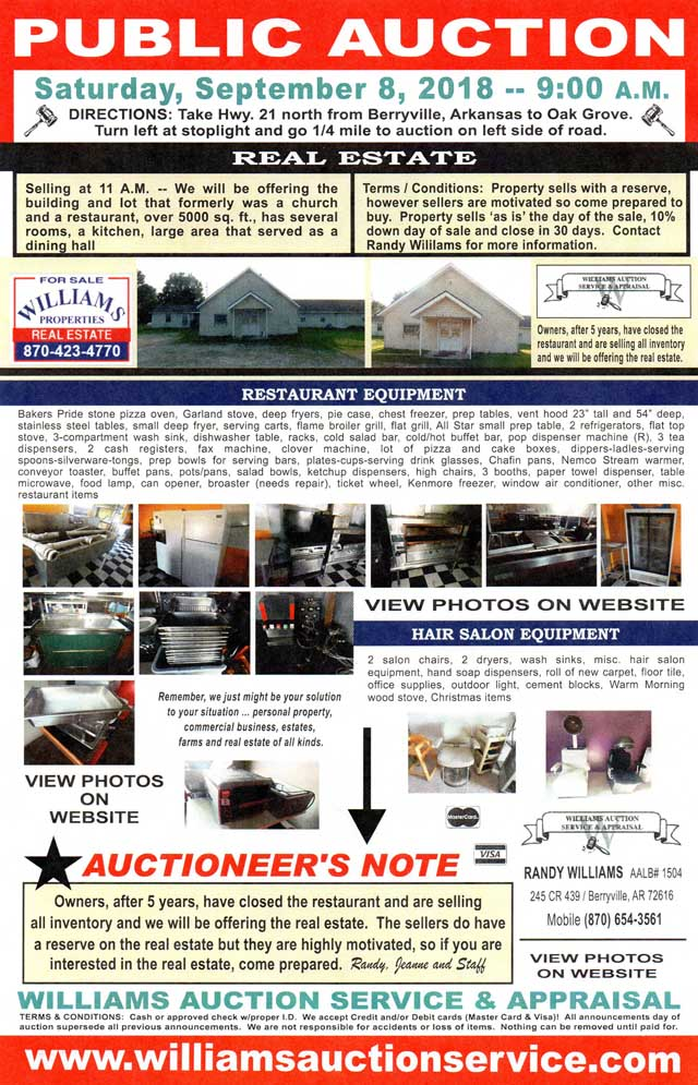 SEPT 8 2018 Real Estate Auction