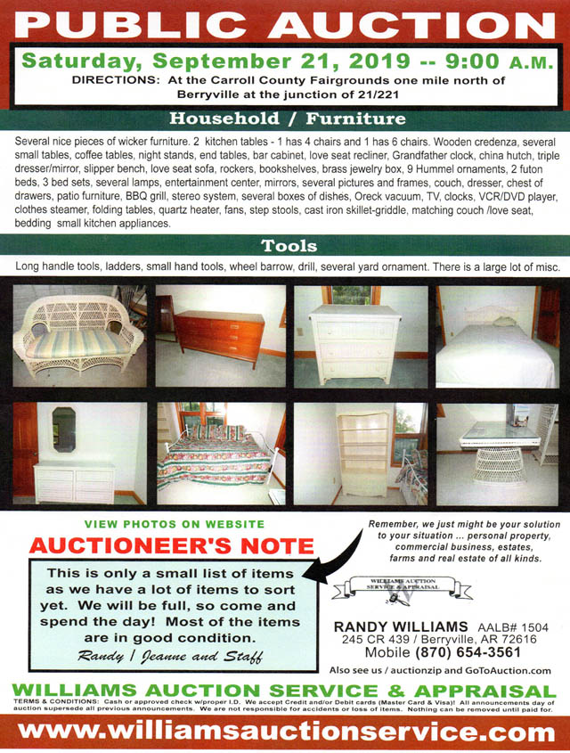 AUction Public Auction Sept 21 2019